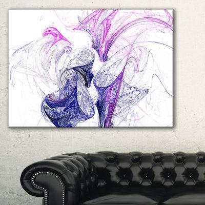 Designart Colored Smoke Purple Abstract Canvas ArtPrint - 3 Panels