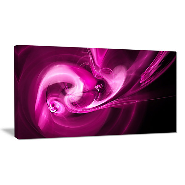 Designart Colored Smoke Spiral Purple Abstract Canvas Art Print