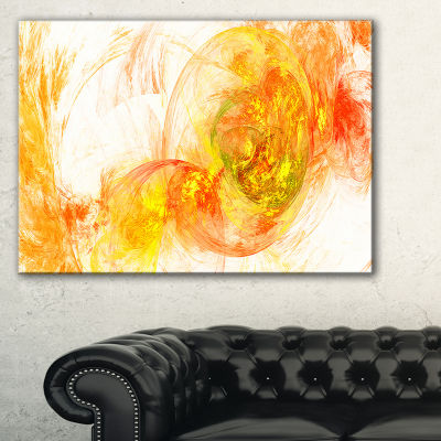 Designart Colored Smoke Yellow Abstract Canvas ArtPrint - 3 Panels