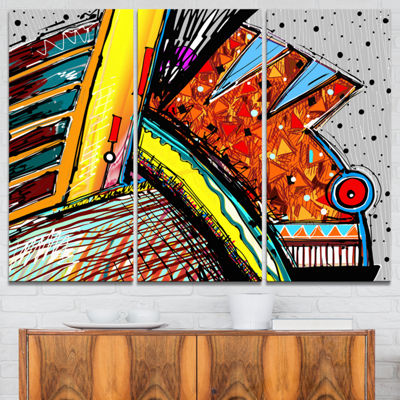 Designart Colorful Abstract Illustration AbstractCanvas Art Print - 3 Panels