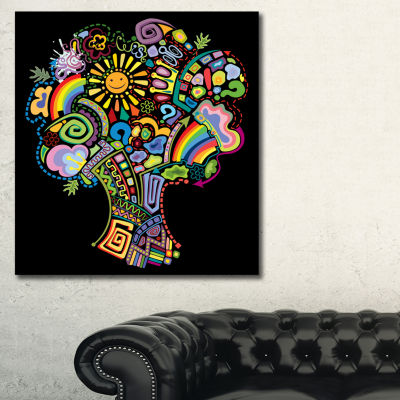 Designart Colorful Abstract Tree Abstract Canvas Art Print - 3 Panels