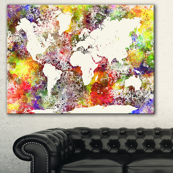 Designart World Map In Great Colors Watercolor MapCanvas Art Print - 3 Panels