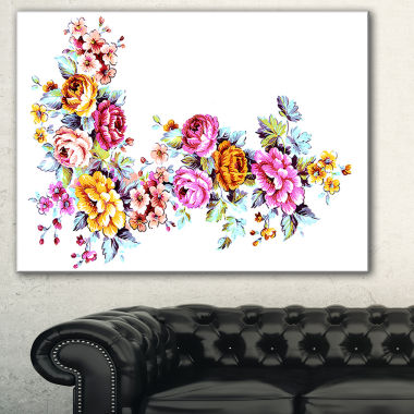 Designart Yellow And Pink Flowers Floral Canvas Art Print