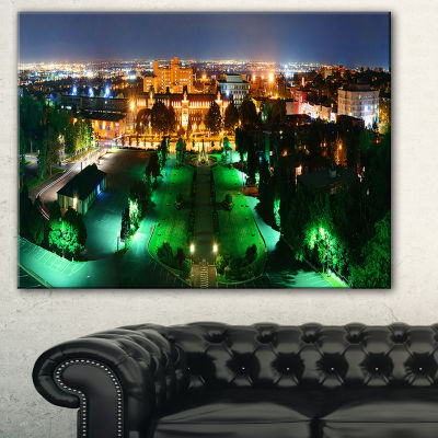 Designart Lighted Montreal City At Night CityscapePhoto Canvas Print