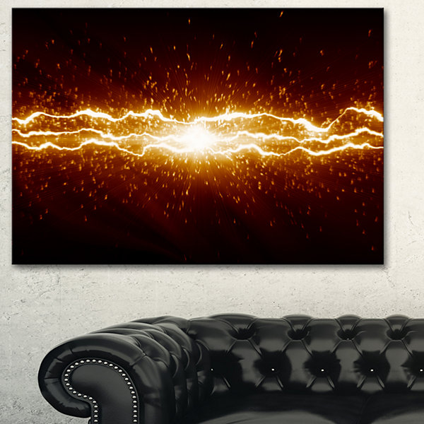 Designart Lightning On Dark Sky Contemporary Canvas Art Print - 3 Panels