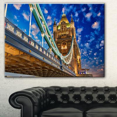 Designart Lights On Tower Bridge Cityscape Photography Canvas Print