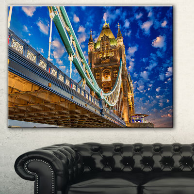 Designart Lights On Tower Bridge Cityscape Photography Canvas Print - 3 Panels