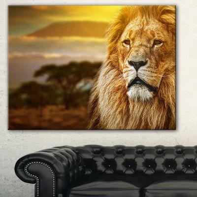 Designart Lion And Mount Kilimanjaro Animal CanvasArt Print - 3 Panels