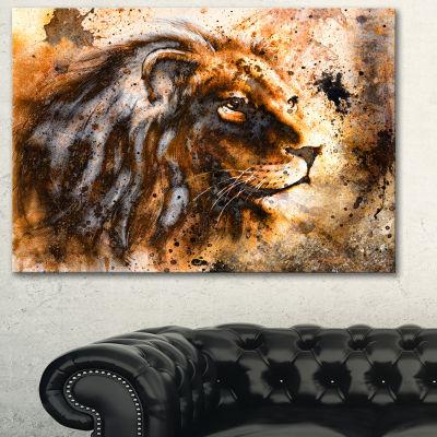 Designart Lion Collage Animal Art On Canvas - 3 Panels
