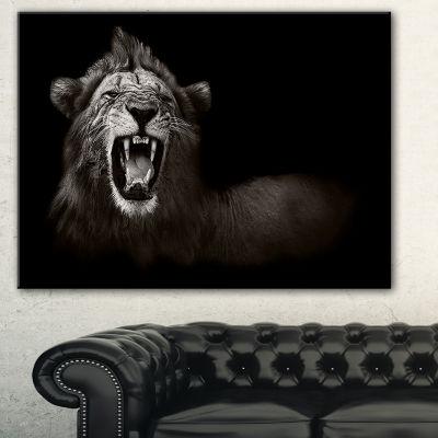Designart Lion Displaying Fiery Face Animal CanvasArt Print - 3 Panels