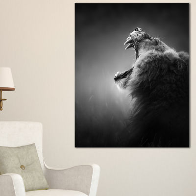 Designart Lion Displaying Teeth Animal Art On Canvas