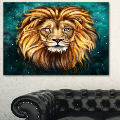 Designart Lion Head In Blue Animal Art On Canvas -3 Panels