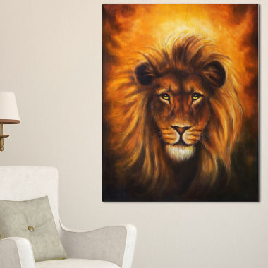 Designart Lion Head With Golden Mane Animal CanvasArt Print