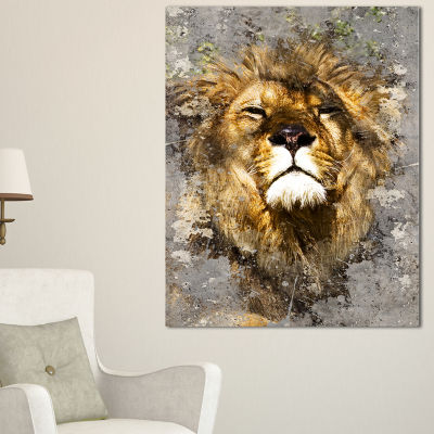 Designart Lion Head With Textures Animal Canvas Art Print - 3 Panels