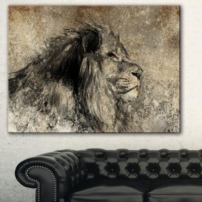 Designart Lion In Sepia Animal Canvas Art Print -3 Panels
