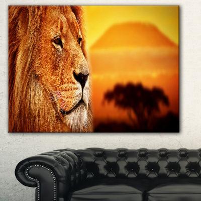 Designart Lion Portrait On Savanna Animal Photography Canvas Art Print