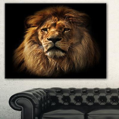 Designart Lion Portrait With Rich Mane Animal Canvas Art Print - 3 Panels