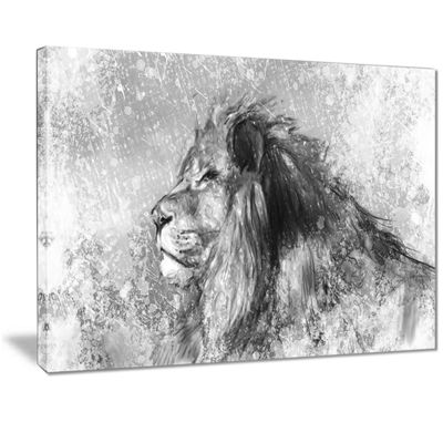 Designart Lion Tattoo Illustration Art Abstract Print On Canvas