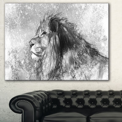 Designart Lion Tattoo Illustration Art Abstract Print On Canvas - 3 Panels