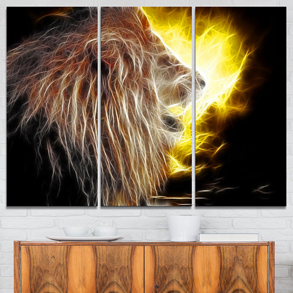 Designart Lion With Fire Animal Canvas Art Print-3Panels