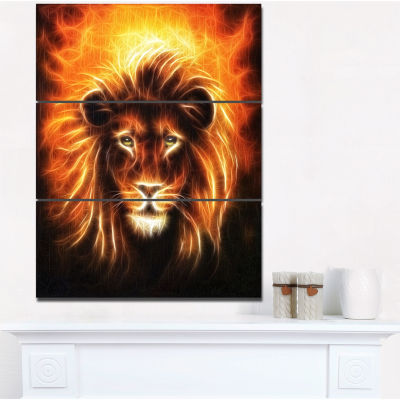 Designart Lion With Flame Mine Animal Canvas Art Print - 3 Panels