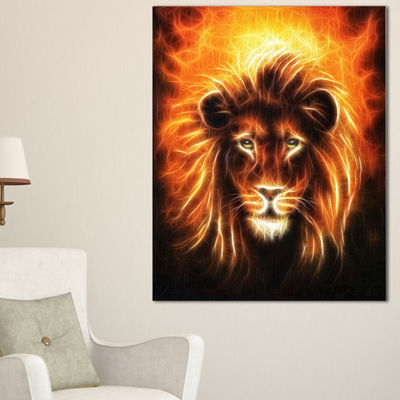 Designart Lion With Flame Mine Animal Canvas ArtPrint - 3 Panels
