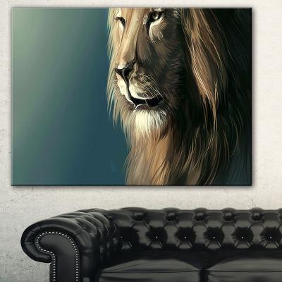 Designart Lion With Serious Look Animal Art CanvasPrint - 3 Panels