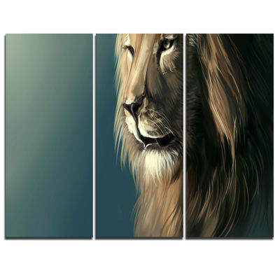 Designart Lion With Serious Look Animal Art CanvasPrint - 3 Panels