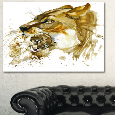 Designart Lioness And Cub Illustration Animal ArtPainting