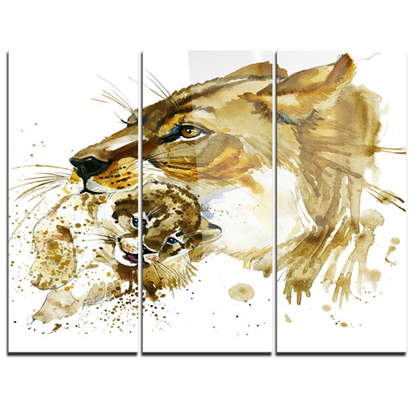 Design Art Lioness And Cub Illustration Animal ArtPainting - 3 Panels