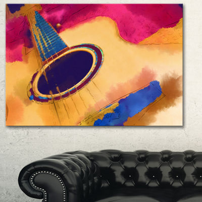 Designart Listen To The Colorful Music Music Canvas Art Print - 3 Panels