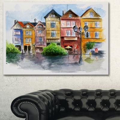 Designart Little City In Watercolor Landscape ArtPrint Canvas - 3 Panels