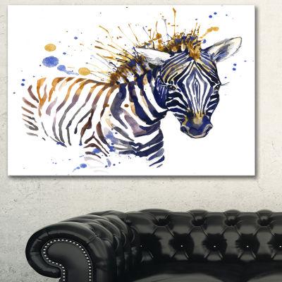 Designart Little Zebra Illustration Art Animal ArtOn Canvas