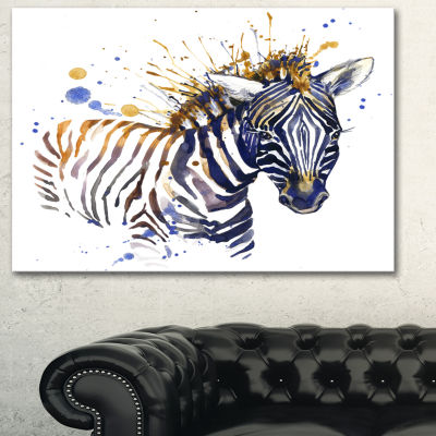 Designart Little Zebra Illustration Art Animal ArtOn Canvas - 3 Panels