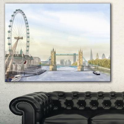 Designart London Bridge Cityscape Photography Canvas Art Print - 3 Panels