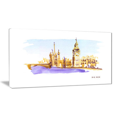 Designart London Brown Illustration Cityscape Painting Canvas Print