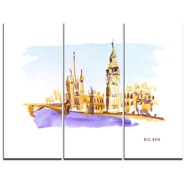 Design Art London Brown Illustration Cityscape Painting Canvas Print - 3 Panels