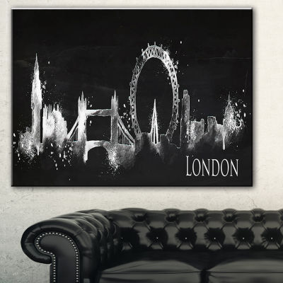 Designart London Dark Silhouette Cityscape Painting Canvas Print