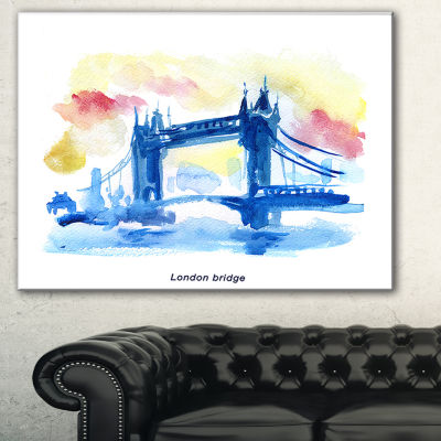 Designart London Hand Drawn Illustration CityscapePainting Canvas Print