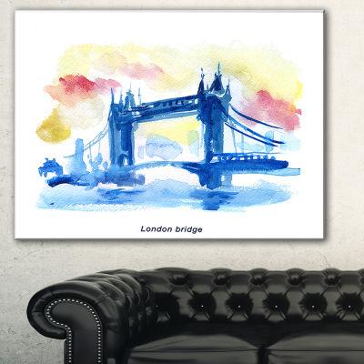 Designart London Hand Drawn Illustration CityscapePainting Canvas Print - 3 Panels