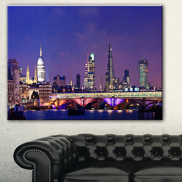 Designart London Night Panorama Cityscape Photo Canvas Print