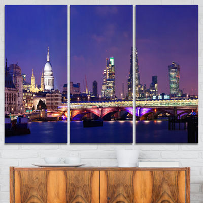 Designart London Night Panorama Cityscape Photo Canvas Print - 3 Panels