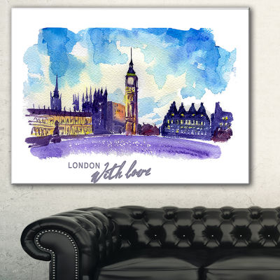 Design Art London Purple Illustration Cityscape Painting Canvas Print - 3 Panels