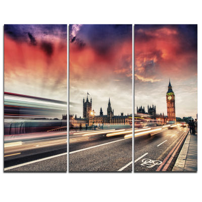 Design Art London Westminster Bridge Cityscape Photo Canvas Print - 3 Panels