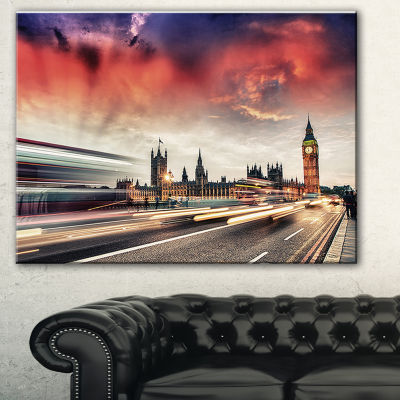 Designart London Westminster Bridge Cityscape Photo Canvas Print - 3 Panels