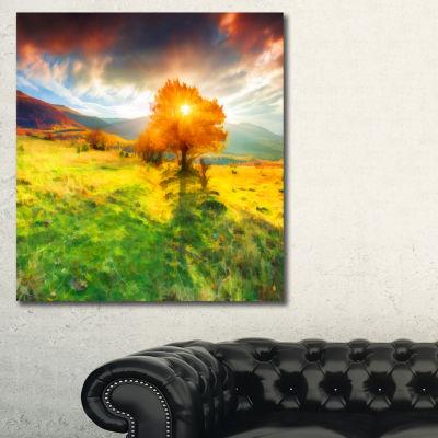Designart Lonely Autumn Tree Landscape Art Print Canvas