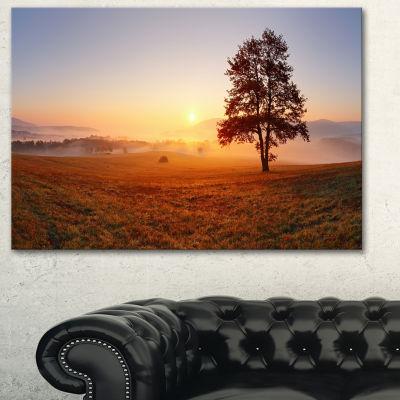 Designart Lonely Tree At Sunset Landscape Photography Canvas Art Print - 3 Panels