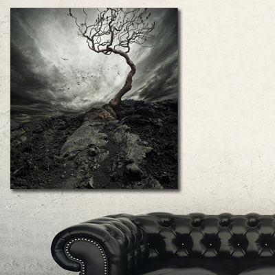 Designart Lonely Tree Under Dramatic Sky LandscapeArt Print Canvas - 3 Panels