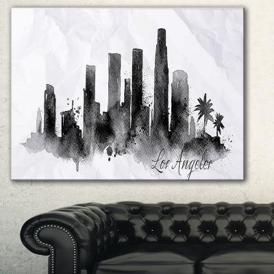 Designart Los Angeles Black Silhouette Cityscape Painting Canvas Print