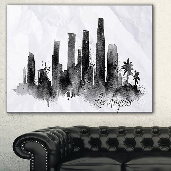 Designart Los Angeles Black Silhouette CityscapePainting Canvas Print - 3 Panels